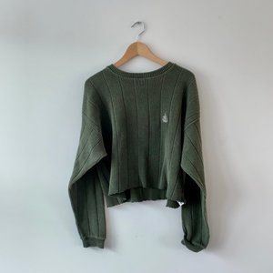 OLIVE GREEN THRIFTED EMBLEM CREST CROPPED SWEATER
